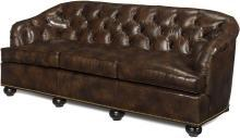 New Leather Sofa, Chesterfield Sofa, Top Grain Leather, Brown, Wood, Nailhead