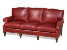 Sleek New Leather Sofa, USA Hand-Crafted 3-Seat, Top Grain Leather, Wood Frame