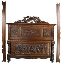 1930 French Bed, Full-Sized Brittany Style, Carved Chestnut, Rural Dancing Scene