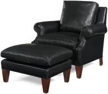 New Accent Chair Wood Leather Non-Removable Leg Hand-Crafted in USA MK-228