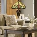 New Dale Tiffany Rococo Table Lamp, Ornate Baroque Glass Jewels, Metal 2-Light