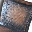 New Cane Bench, Black Rattan European Style Window Bench, Reeded Wood Legs