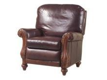 New Leather Recliner Chair, Antique Style, Wood Carved Scroll Arms, USA Crafted
