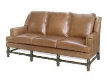 New Leather Sofa, Rope Twist Carved Wood Stretchers, Top Grain Leather, Fab!