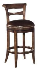 New Counter Stool, Solid Hardwood, Distressed Med Brown Finish, Brown Leather