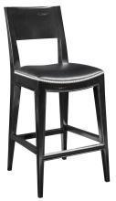 New Counter Stool, Saddle Seat, Black Hardwood/Black Leather, Nickel Nailhead