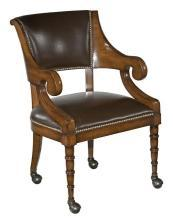 New Dining Arm Chair, English Regency Style, Solid Hardwood, Brown Leather