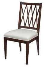 6 New Dining Chairs, Mid Century Modern, Ebonized Mahogany Lattice, Fabric
