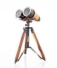 Binoculars Victorian Tripod 2-Tone Bright Annealed Two-Tone Wood Brass Ne OM-336