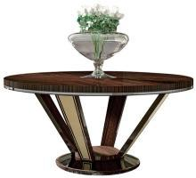 Foyer Table DAVID MICHAEL Transitional Round Silver-Plated Makassar Ebon DM-1307