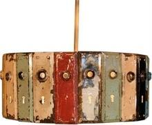 Chandelier Pendant Lamp Custom-Made With Upcycled Vintage Door Plates, One Light