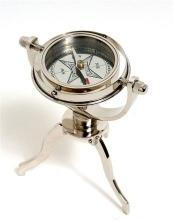 Compass GIMBALED Nautical Tri-stand Silver Tinted Solid Brass Strip New OM-119