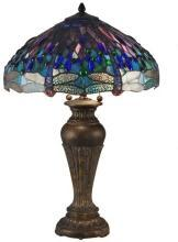 Table Lamp DALE TIFFANY Dragonfly Small 2-Light Fieldstone Blue Hand-Rol DY-1724