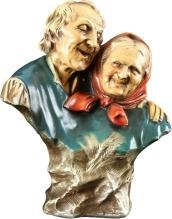 Vintage French Polychrome Chalkware Sculpture/Figurine of Elderly Couple, 1940