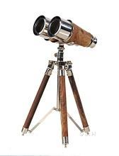 Binoculars Victorian Nickel Wood Brass New OM-337