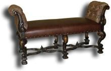 New Window Seat Bench Brown Leather, Scrolled Arms, Old World Stretcher