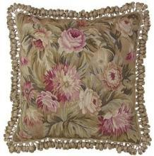 New Aubusson Throw Pillow Handwoven Wool 22