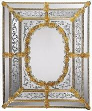 Wall Mirror DAVID MICHAEL REFLECTIONS XVII C Gold Murano Glass New Hand-Et DM-80