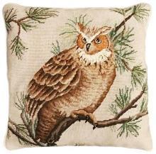 Throw Pillow Needlepoint Barn Owl Bird 18x18 Browns Beige Orange Brown Br MH-310