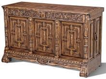 Plasma Console Scarborough House Burl Walnut Traditional Ornate Carving