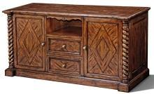 Plasma TV Stand Console Scarborough House Hand Distressed, Brass, Fan, IR Receiver