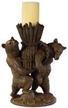 Candle Holder Candlestick MOUNTAIN Rustic Helping Bears Resin New Carvin OK-1167