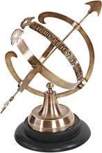 Armillary Sphere Two-Tone Antique Dark 2-Tone Brown Brass Felt Lining Woo OM-348