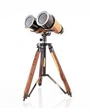 Binoculars Victorian Tripod 2-Tone Bright Annealed Two-Tone Brass Wood Ne OM-336