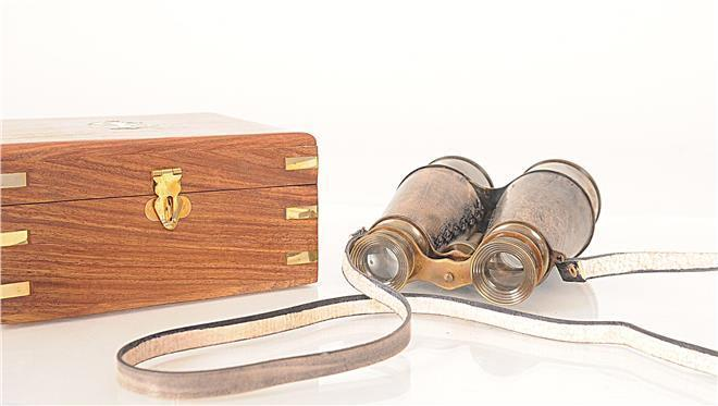 Binoculars Wood Box Leather Overlay New OM-139