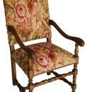 Chair Accent Aubusson Patterns Antiqued Brass Upholstered Wool Nail Heads  FM-50