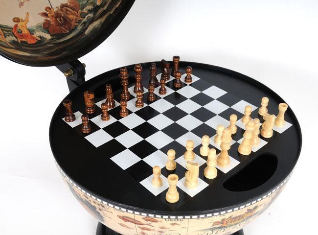 Globe 13-Inch White Wood Base New With Chess Holder OM-166
