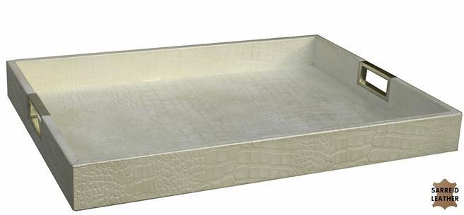 Serving Tray SARREID Pearl White Brass Leather Wood New SA-1115