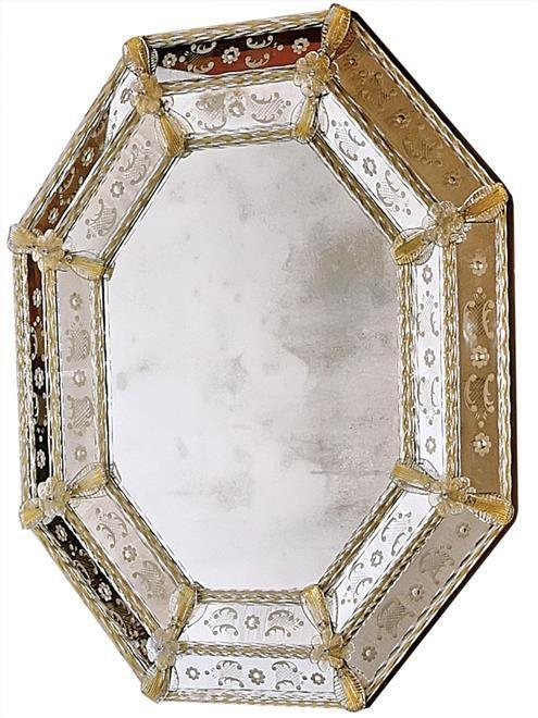 Wall Mirror DAVID MICHAEL REFLECTIONS Octagonal Sandstone New Hand-Etched  DM-81