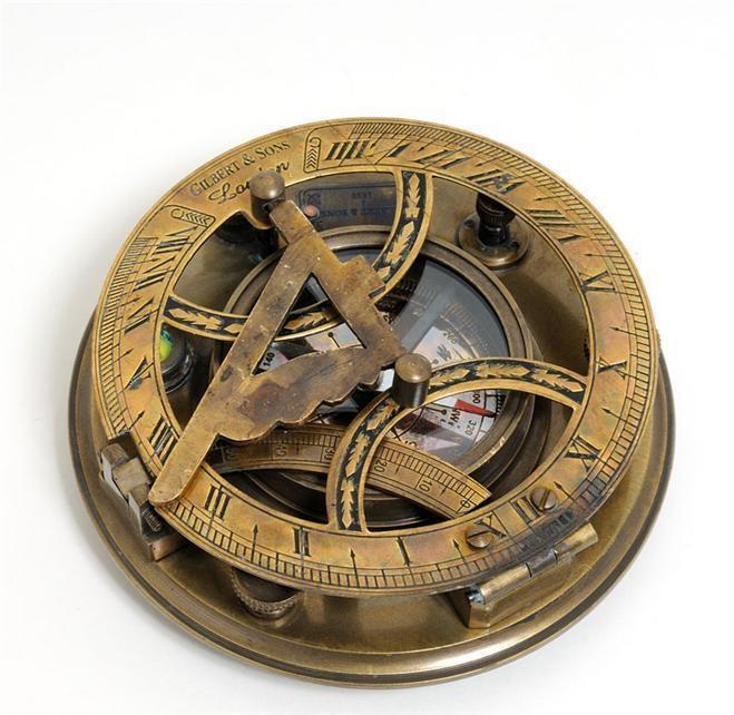 New Large Compass Wood Box Sundial OM-124