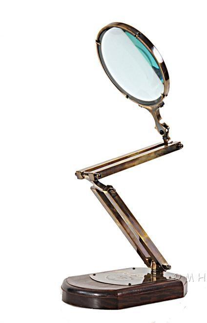 Magnifying Glass Shiny Black Wooden Base Brass New Adjustable OM-331