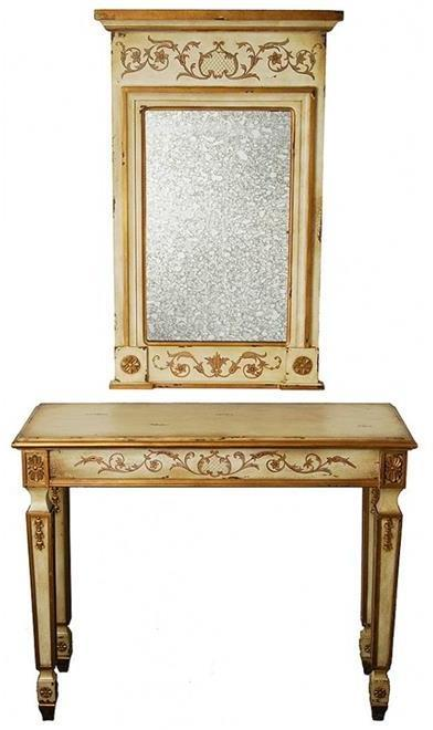 Console Table Antique White Antiqued Glass Carved Wood Mirror New CW-971