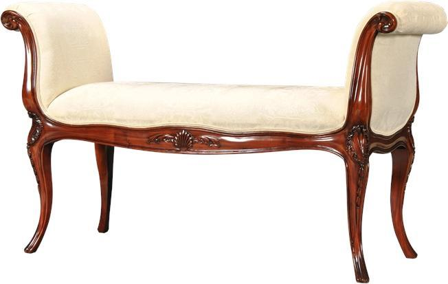 Window Bench French Sweeping Arms Oversize Upholstered Solid Mahogany New NG-188