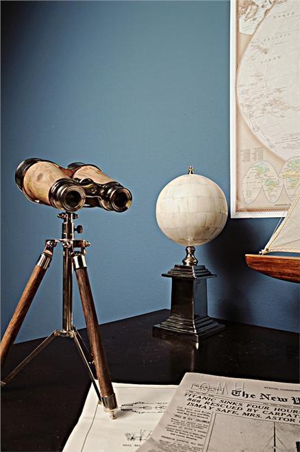 Binoculars Victorian Nickel Brass Wood New OM-337