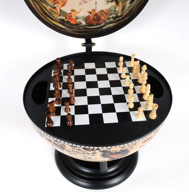 Globe 13-Inch White Wood Base New With Chess