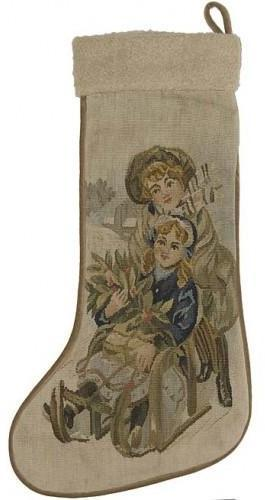 Christmas Stocking Aubusson 13.5x20 Tan