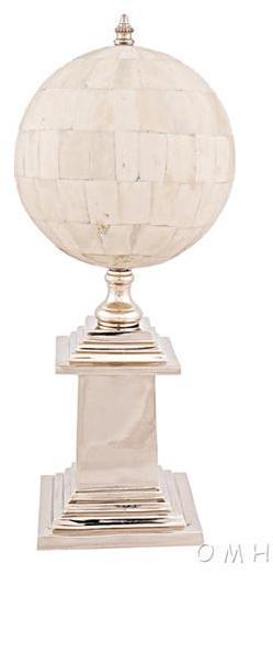 Globe Pleated Silver Shiny Nickel Brass