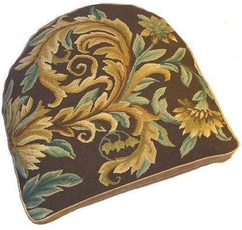 Chair Cushion Aubusson Floral 18x20 Gold New