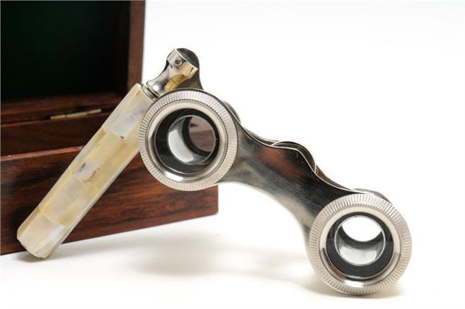 New Opera Glasses Wood Box Mother of Pearl