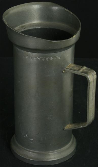 HEAVY Vintage French 1/2 Liter Pewter Cup