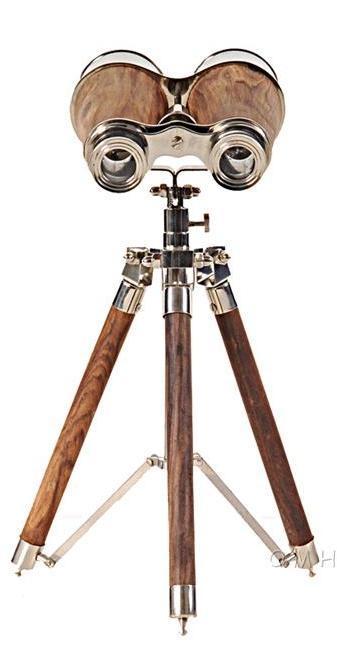Binoculars Victorian Nickel Brass Wood New