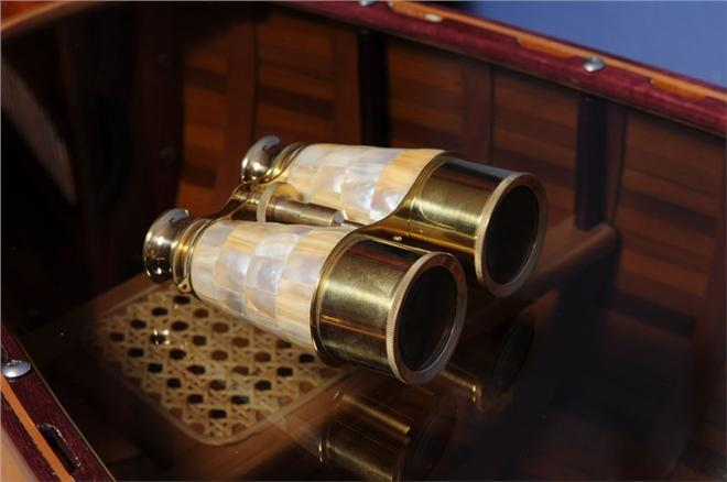 Binoculars Mother Of Pearl Wood Box New