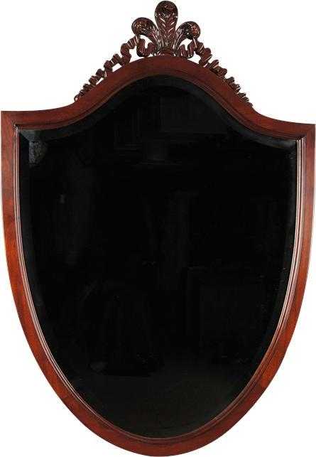 Wall Mirror Shield Beveled Glass Solid