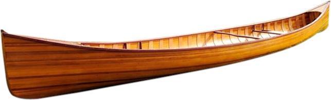 Canoe With Ribs 18-Ft Strips of Cedar glass