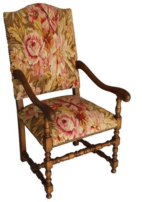 Chair Accent Aubusson Antiqued Brass