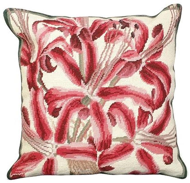 Throw Pillow Needlepoint Botanical 18x18